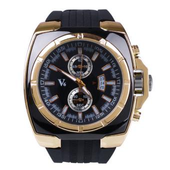 Fashion Men's Business Automatic Silicone Analog Quartz Wrist Watch Gift Black