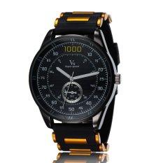 Fashion New Hot Popular Men Big Round Dial Silicone Band Quartz Alloy Sports Wristwatch Yellow (Intl)