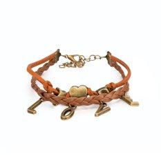 Fashion Retro Leather Cord Bracelet Series LOVE-shaped Bracelet Brown, Jewelry Wholesalers FSH222 - Intl