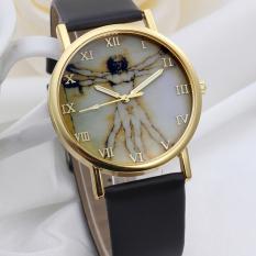 Fashion Retro Style Dial Leather Band Quartz Analog Wrist Watches Black