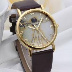 Fashion Retro Style Dial Leather Band Quartz Analog Wrist Watches Brown