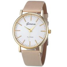 Fashion Simple Leisure Women Analog Leather Quartz Wrist Watch Beige