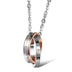 Fashion Titanium Steel Couple Rhinestone Chain Necklace (Intl)