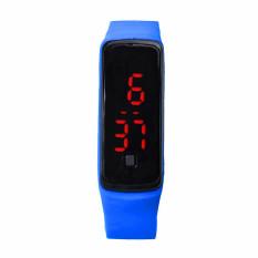 Fashion Ultra Thin Girl Men Sports Silicone Digital LED Sports Wrist Watch Royalblue (Intl)