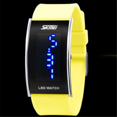 Fashion Unisex Watch Skmei Brand LED Silicone Jelly Watch (Yellow) (Intl)