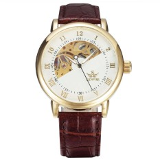 Fashion Unisexy Luxury Classical Wristwatches Faux Leather Casual Retro Watches (Gold&White) - Intl