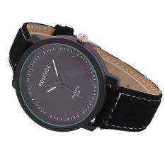 Fashion Watch Round Steel Case Men Women Faux Leather Quartz Analog Wrist Watch - Intl