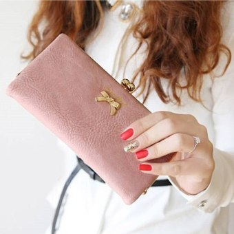 Fashion Women Bowtie Long Zipper Purse Wallet (Pink)