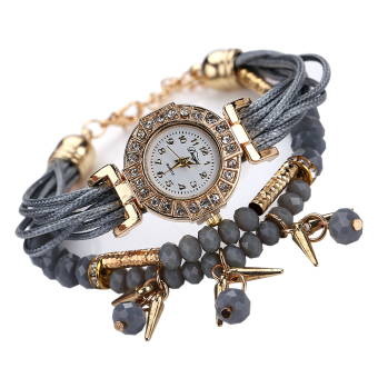 Fashion Women Braid Winding Wrap Bracelet Stainless Steel Watch Gray - Intl