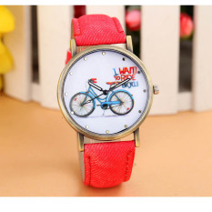 Fashion Women Denim Leather Strap Watches Bicycle Pattern Red (Intl)