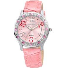 Fashion Women Rhinestone Watch Fashion Casual Watch Leather Women Wristwatch Women Dress Watch Pink (Intl)