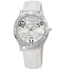 Fashion Women Rhinestone Watch Fashion Casual Watch Leather Women Wristwatch Women Dress Watch White (Intl)