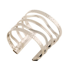 Fashion Womens Curve Hollow Out Cuff Bracelets Fine Jewelry LB327 Silver