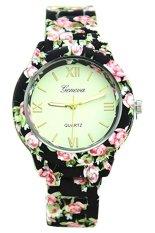 Fashion Women's Geneva Ceramic Black Floral Print Band Wrist Watch 60BL024