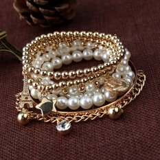 Fashion Womens Jewelry Gold Metal Pearl Charm Bangle Multilayer Pendant Bracelet Golden (Intl)