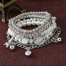 Fashion Womens Jewelry Gold Metal Pearl Charm Bangle Multilayer Pendant Bracelet Silvery (Intl)