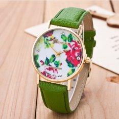 Fashion Women's Vintage Platinum Floral Rose Quartz Wrist Watch Leather with Rhinestones Watch (Green)