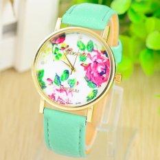 Fashion Women's Vintage Platinum Floral Rose Quartz Wrist Watch Leather with Rhinestones Watch (Mint Green)