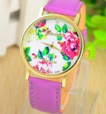 Fashion Women's Vintage Platinum Floral Rose Quartz Wrist Watch Leather with Rhinestones Watch (Purple)