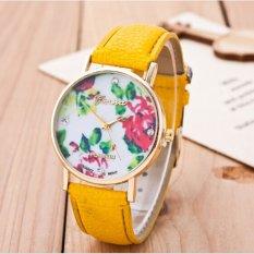 Fashion Women's Vintage Platinum Floral Rose Quartz Wrist Watch Leather with Rhinestones Watch (Yellow)