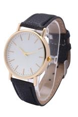 Fashion World New Simple Style Geneva Rose Gold Leather Belt Quartz Watches (Black)