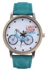 Fashion World The New Cycling Denim Leather Strap Watch Dial Quartz Watch (Red) (Intl)