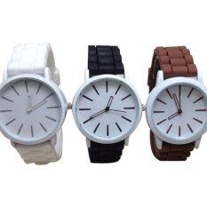 Fashionable Silica Gel Wristband Women's Quartz Candy Color Wrist Watch New Design (Black) (Intl)