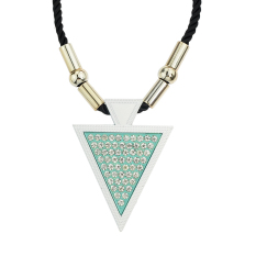 Feelontop Fashion Jewelry Braided Rope Colorful Geometric Triangle Rhinestone Pendant Necklace (Intl)