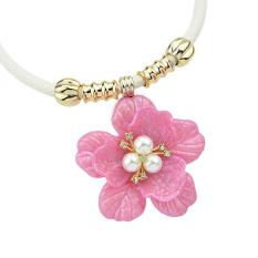 Feelontop Luxury Flower Pendant Necklace PU Leather Rhinestone Bohemian Choker Necklace (Intl)