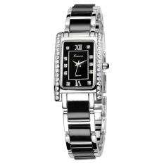 Fehiba KIMIO Female Form Fashion Casual Square Watch Bracelet Watch Quartz Watch Students KW510S (Black)
