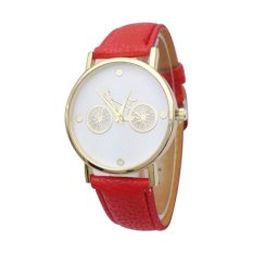 Female Watch New Bicycle Printed Watch with Faux Leather Strap Girls Students Quartz Wrist Watches (Mint Green) (Intl)