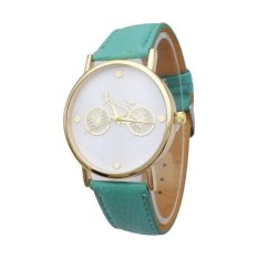 Female Watch New Bicycle Printed Watch with Faux Leather Strap Girls Students Quartz Wrist Watches (Red) (Intl)