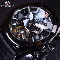 Forsining Legend Tourbillion Series Full Black Mysterious Design Genuine Leather Mens Automatic Watch - Intl