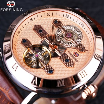 Forsining Tourbillion Obscure Designer Rose Golden Elegant Retro Designer Clock Mens Automatic Watch - Intl