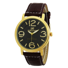 Fortuner Analog Jam Tangan Pria – Leather Strap – FR 5324 DB Gold L
