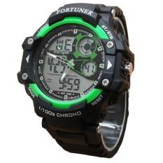 Fortuner Sport Dual Time - Jam Tangan Pria - Rubber - AD1602BG - Hitam-Hijau