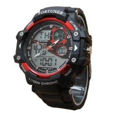 Fortuner Sport Dual Time - Jam Tangan Pria - Rubber - AD1602BR - Hitam-Merah