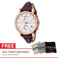 Fossil ES3616 Original Boyfriend Free T Shirt Fossil Addict - Jam Tangan Wanita - Kulit - Expresso