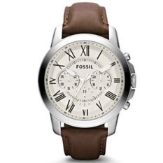 Fossil Jam Tangan Pria Fossil FS4735 Grant Chronograph Brown Leather Watch