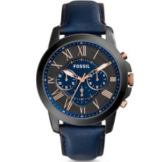 Fossil Jam Tangan Pria Fossil FS5061 Grant Chronograph Navy Leather Watch