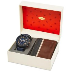 Fossil Men's Chronograph Grant Blue Leather Watch & Wallet Set, FS 5252SET