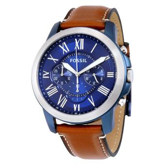 Fossil Watch Grant Chronograph Brown Stainless-Steel Case Leather Strap Mens NWT + Warranty FS5151