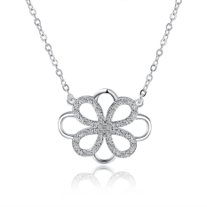 Fulemay Jewelry Women Dancing Stone Pendant Necklace 925 Sterling Silver Jewelry Necklace SPCN867