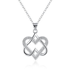 Fulemay SJ Online Shop China Wholesale Copper 925 Sterling Silver Plated Solitaire Cubic Zirconia Women Heart Jewelry Necklace SPCN846