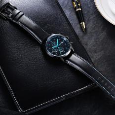 Fuskm OCHSTIN Genuine Swiss Watch Male Sports Brand Luxury Watches Men's Waterproof Leather Quartz Watch 6-pin (Blue)