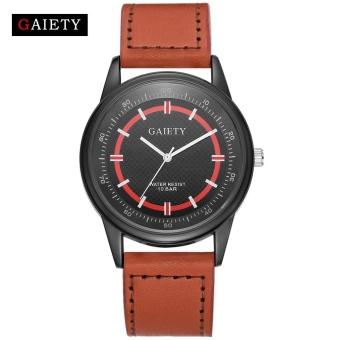 GAIETY G039 Retro Design Luxury Men's Watch Leather Strap Analog Quartz Watches - Brown - intl
