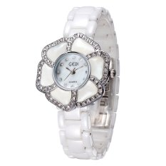 GEDI Brand New Fashion Genuine Ceramic Watches Women Dress Watches Flower Case Full Rhinestone Quartz Wristwatch- Silver