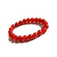 Gelang Batu Akik Merah Polos Asli Natural Bead Bracelet Red Agate