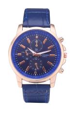 Geneva 3888 Brand Leather Watch Quartz Dress 3 Eyes Casual Watch (Blue)