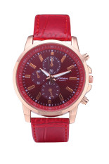 Geneva 3888 Brand Leather Watch Quartz Dress 3 Eyes Casual Watch (Red) (Intl)